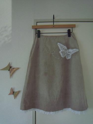フランス刺繍オーバースカート付きスカート アンダースカートバックスタイル